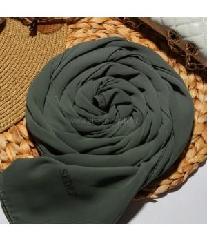 Hijab soie de medine a enfiler vert sedef