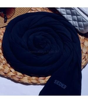 hijab soie de medine a enfiler bleu marine sedef