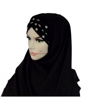 hijab noir a pois bonnet croisé pas cher