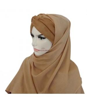 hijab bandeau beige pashmina bonnet croisé pas cher