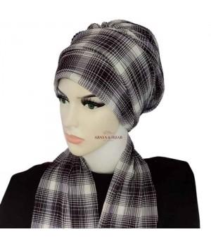 turban hijab carreaux avec écharpe qualité pas cher