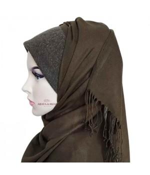 hijab hiver avec kaki bandeau