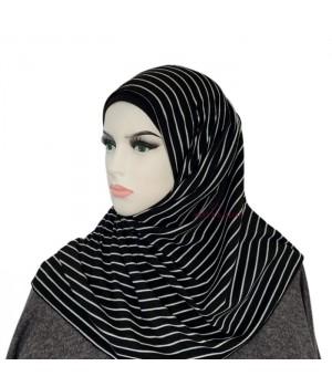 hijab a enfiler noir avec rayures