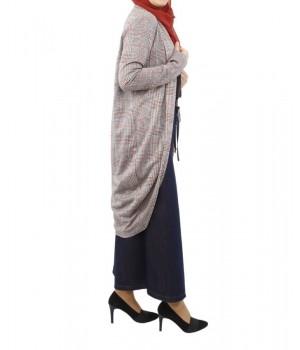 gilet cardigan carreaux modest fashion