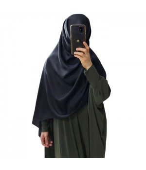Hijab noir satiné