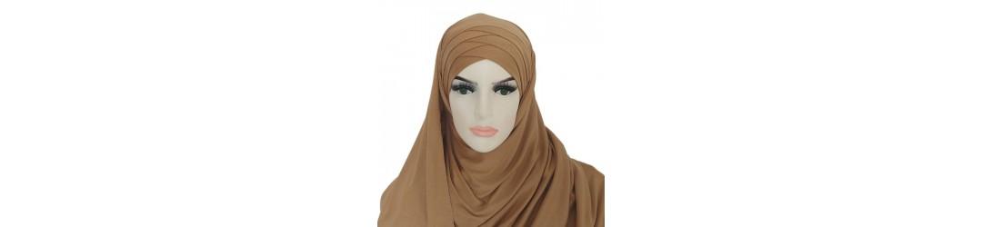 Hijab a enfiler - Hijab pret a enfiler croisé- Soie de medine  enfiler